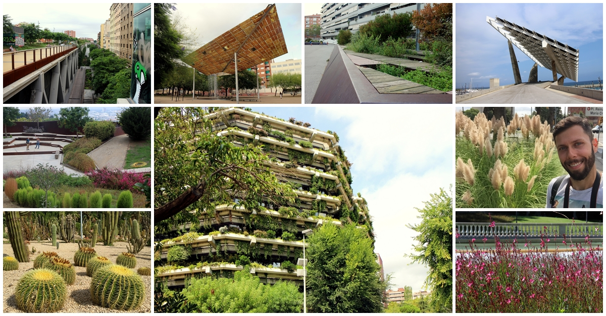 Gardens, parks, squares and green places in Barcelona – landscape architecture – 37 palces + map
